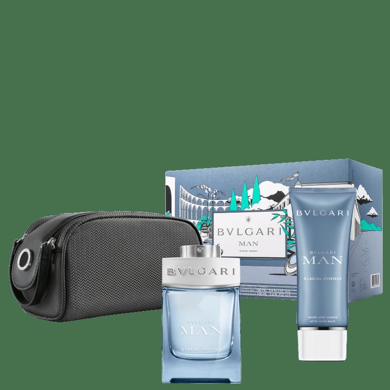 Kit Bvlgari Man Glacial Essence Eau de Parfum Masculino 100ml + AS 100ml + Nécessaire