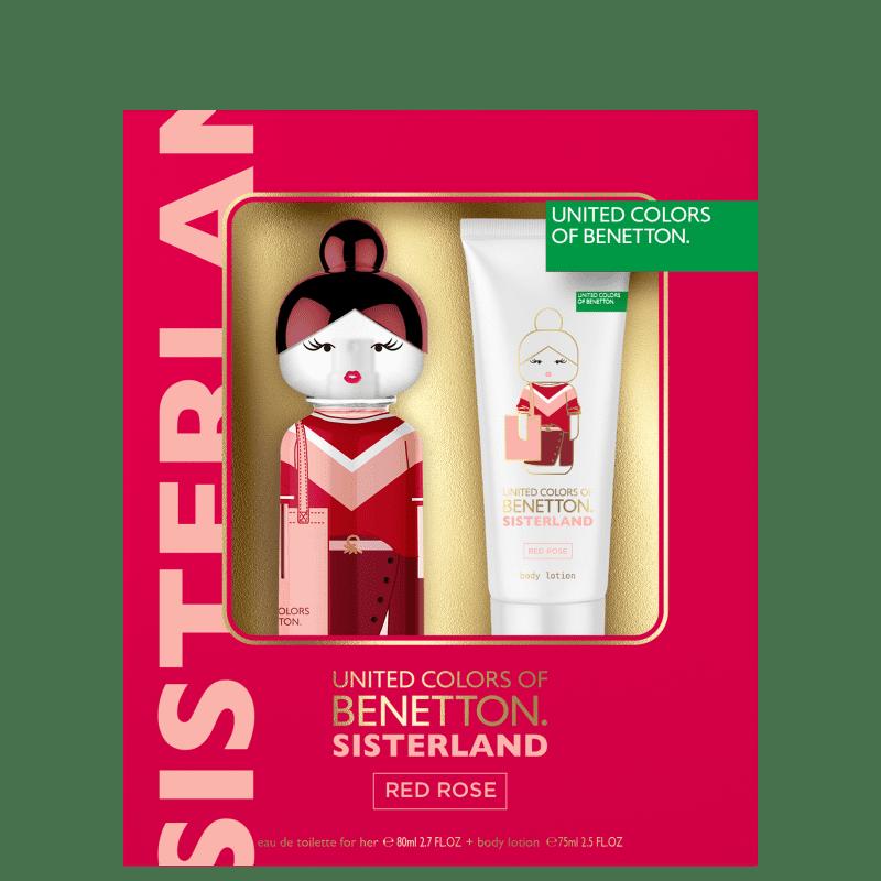 Kit Sisterland Red Rose Benetton Eau de Toilette Feminino 80ml + BL 75ml