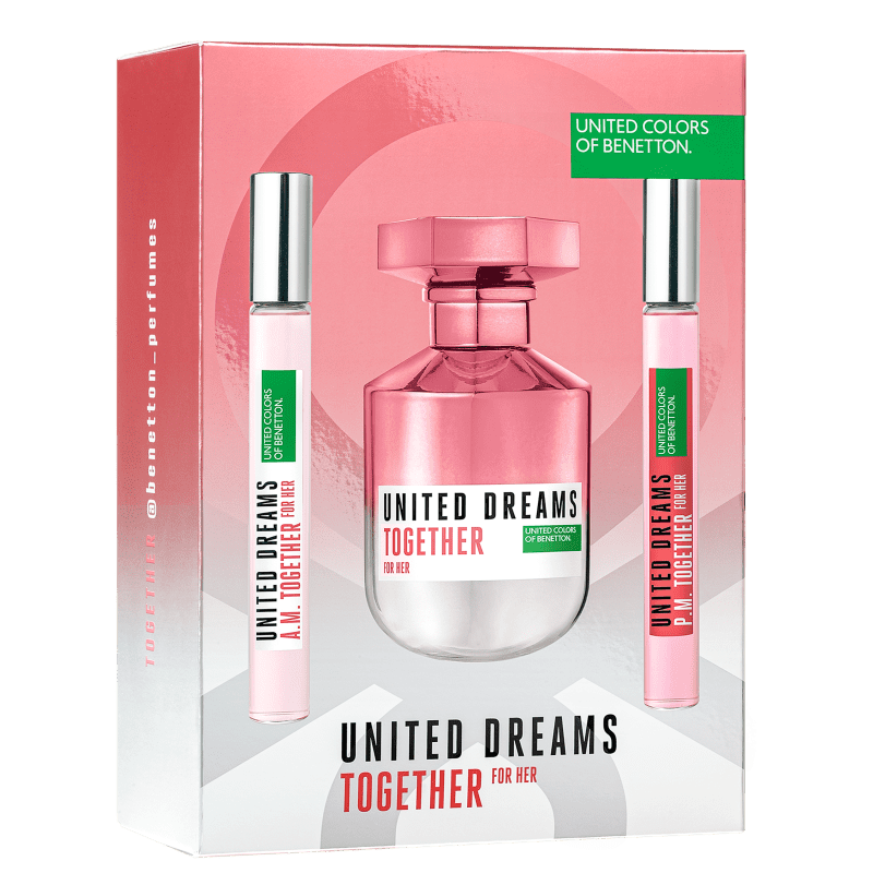 Kit United Dreams Together for Her Benetton Eau de Toilette 80ml + Booster Diurno 10ml + Booster Noturno 10ml
