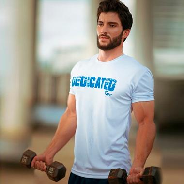 Camiseta Branca Dry Dedicated com Detalhe  Azul