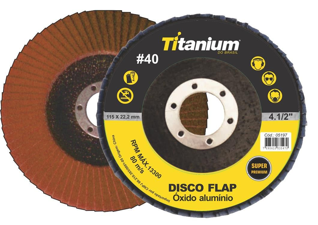 Disco Flap 4.1/2 Grão 40 - Titanium Super Fibra - Óxido de Alumínio