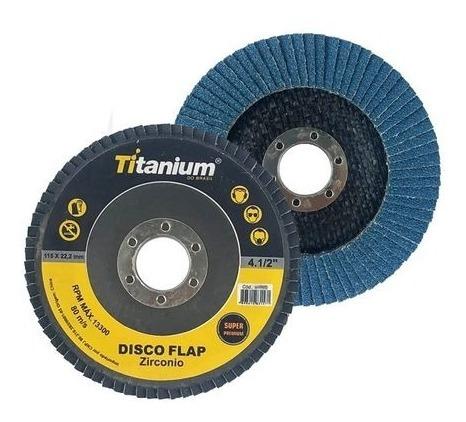Disco Flap 4.1/2 Grão 40 - Titanium Super Fibra - Zircônio