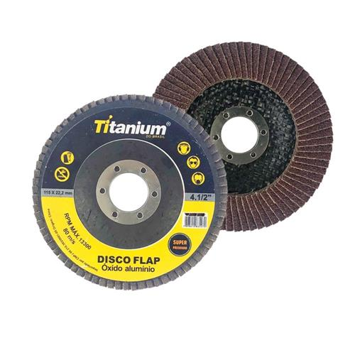 Disco Flap 4.1/2 Grão 60 - Titanium Super Fibra - Óxido de Alumínio