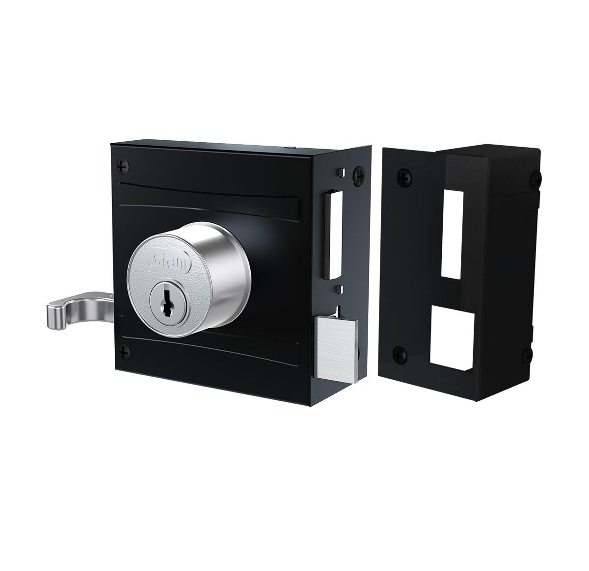 Fechadura De Sobrepor Stam 701/80 - Espelho Inox - Preto Fosco