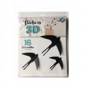Adesivo de Parede 3D Adesif Pássaros 16 pç