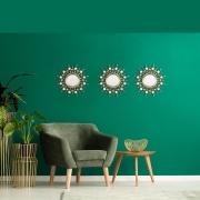 Espelho Decorativo Inova Soleil c/ 3 pç 25x25cm Ouro Velho