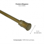 Kit Varão Cortina Extensivo 1,20a 2,10m Ellegance Ouro velho