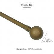 Kit Varão P Cortina Extensivo - 1,20 a 2,10m Bola Ouro Velho