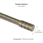 Kit Varão P Cortina Extensivo 1,20 a 2,10M Cilín. Ouro Velho