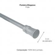 Kit Varão P Cortina Extensivo - 1,20 a 2,10m Ellegance Prata