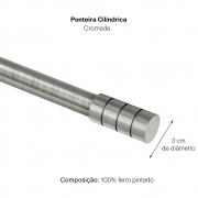 Kit Varão P Cortina Extensivo 1,20a 2,10M Cilíndrica Cromada