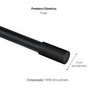Kit Varão P Cortina Extensivo 1,60 a 3,00M Cilindrica Preta