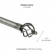 Kit Varão P Cortina Extensivo - 1,60 a 3,00M Coroa Cromada