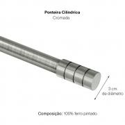 Kit Varão P Cortina Extensivo 1,60a 3,00M Cilindrica Cromada