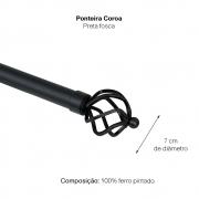 Kit Varão Para Cortina Extensivo - 1,20 a 2,10M Coroa Preta