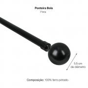 Kit Varão Para Cortina Extensivo - 1,60 a 3,00m  Bola Preta