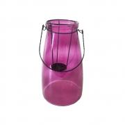 Lanterna Decorativa Vidro Vitry Rosa