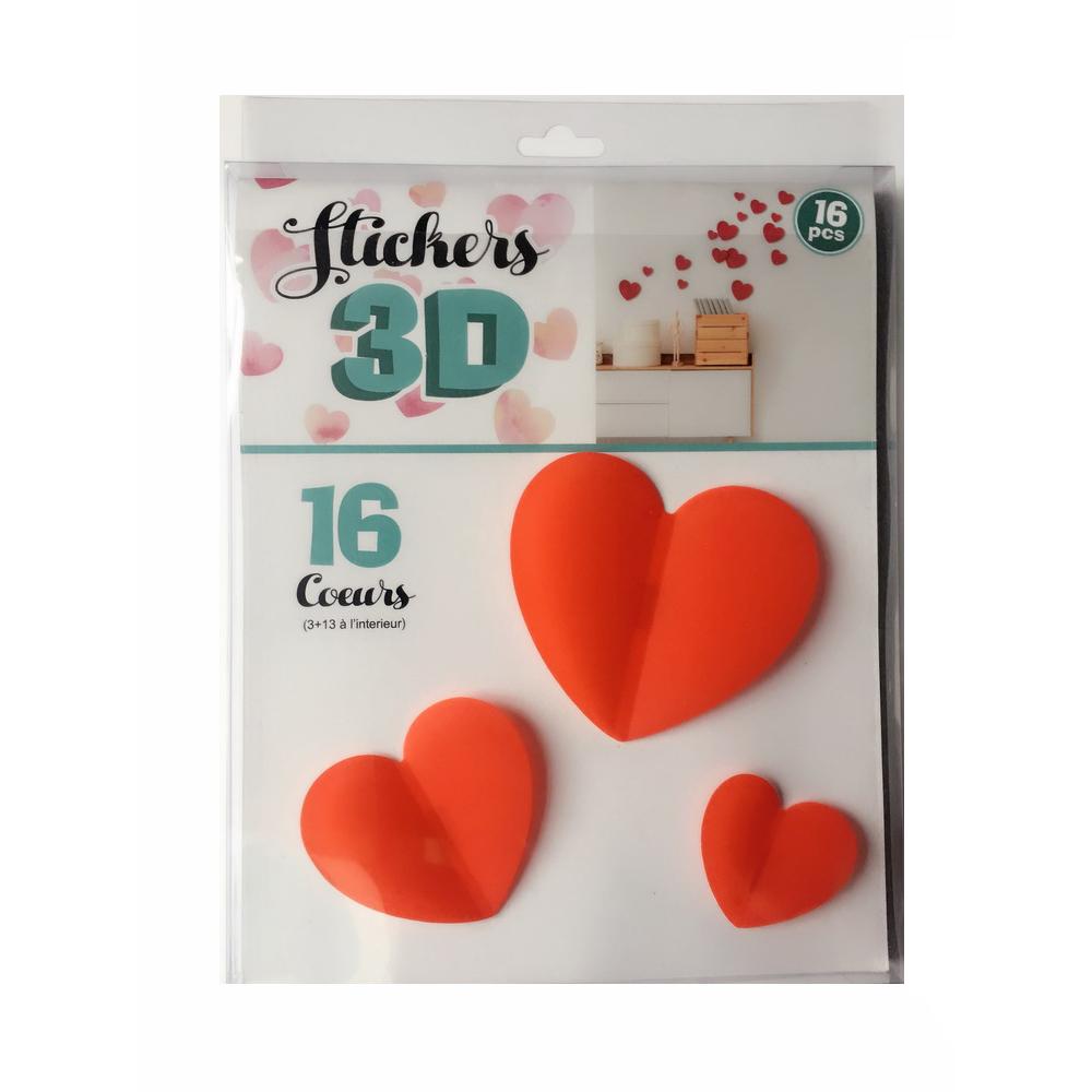 Adesivo de Parede 3D Adesif Corações 16 pç.