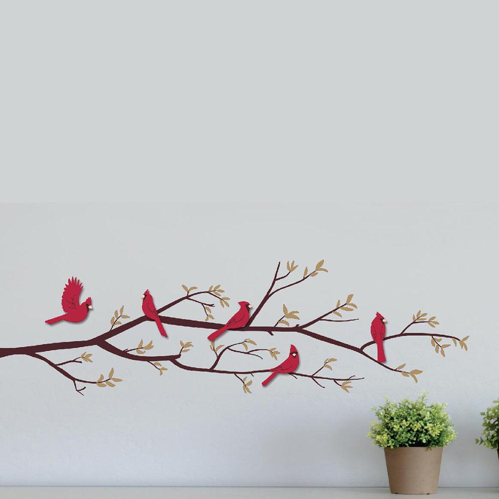 Adesivo de Parede 3D Adesif Pássaros nos Galhos