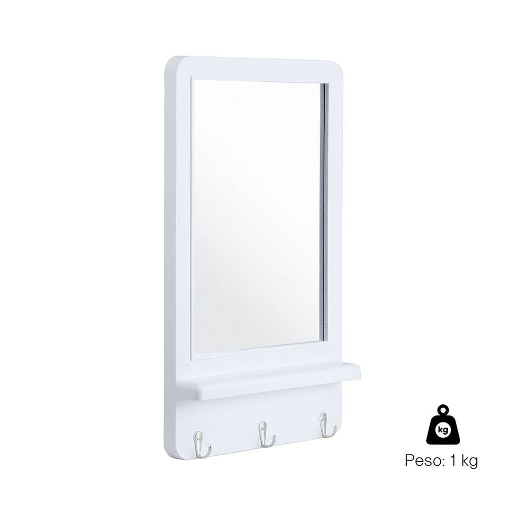 Espelho Decora Hook Retangular 51 x 31cm c/ 3 Ganchos Branco