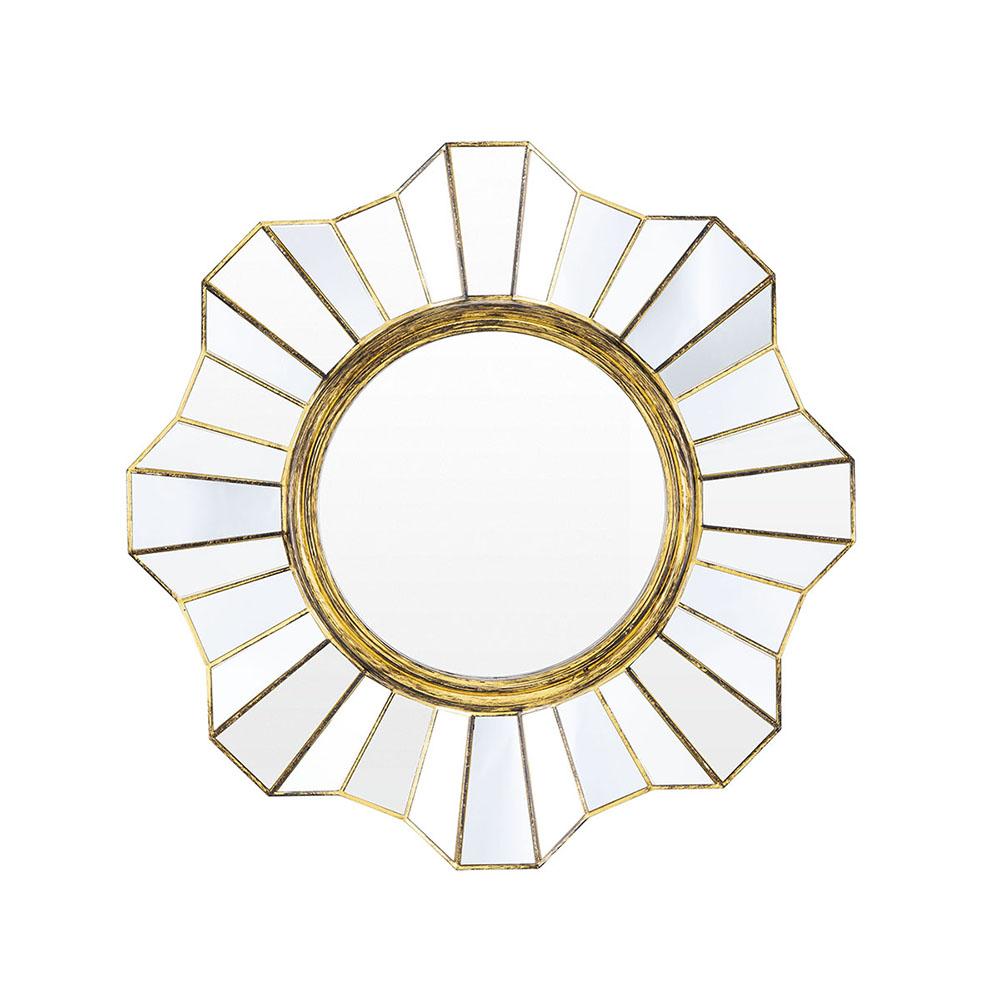 Espelho Decorativo Inova Flower 39x39x2cm - Ouro Velho