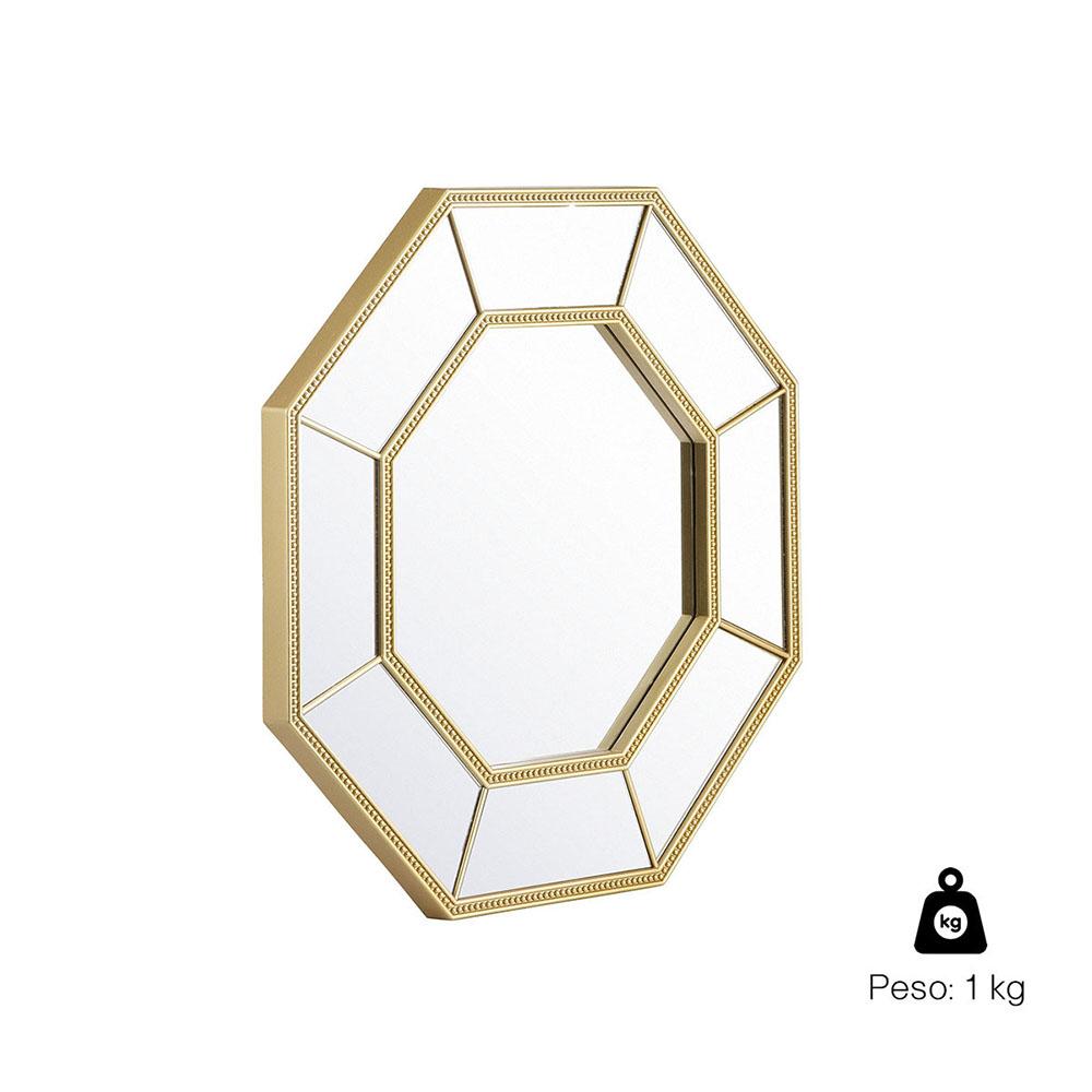 Espelho Decorativo Inova Octogonal Huit 40x40x2cm Dourado