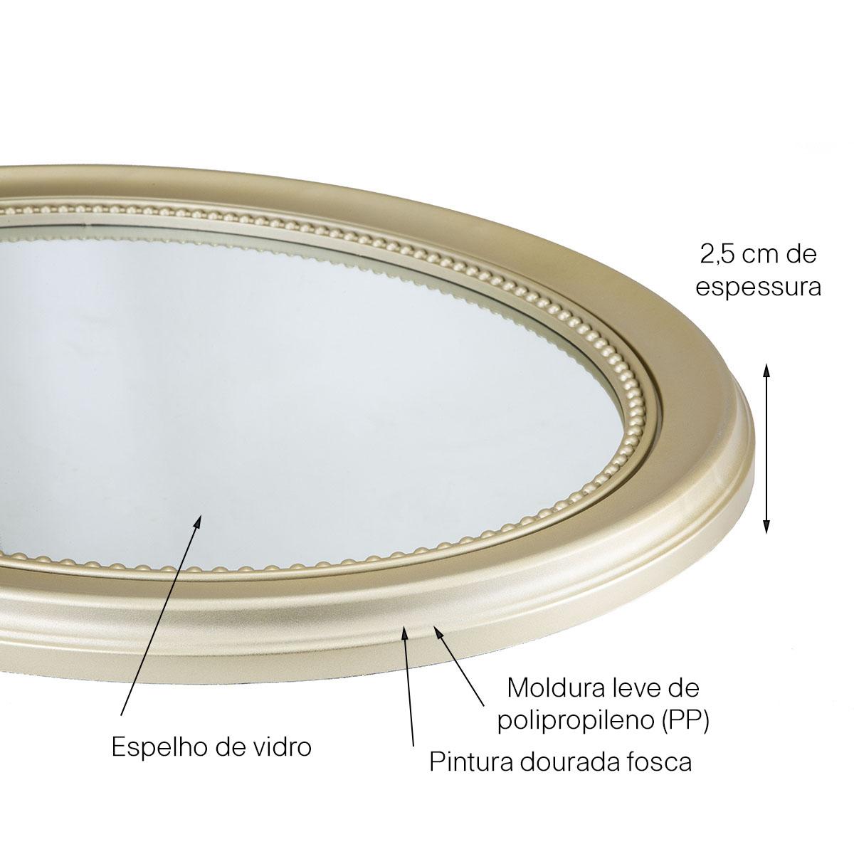 Espelho Decorativo Inova Vinty 56x70cm Dourado Fosco