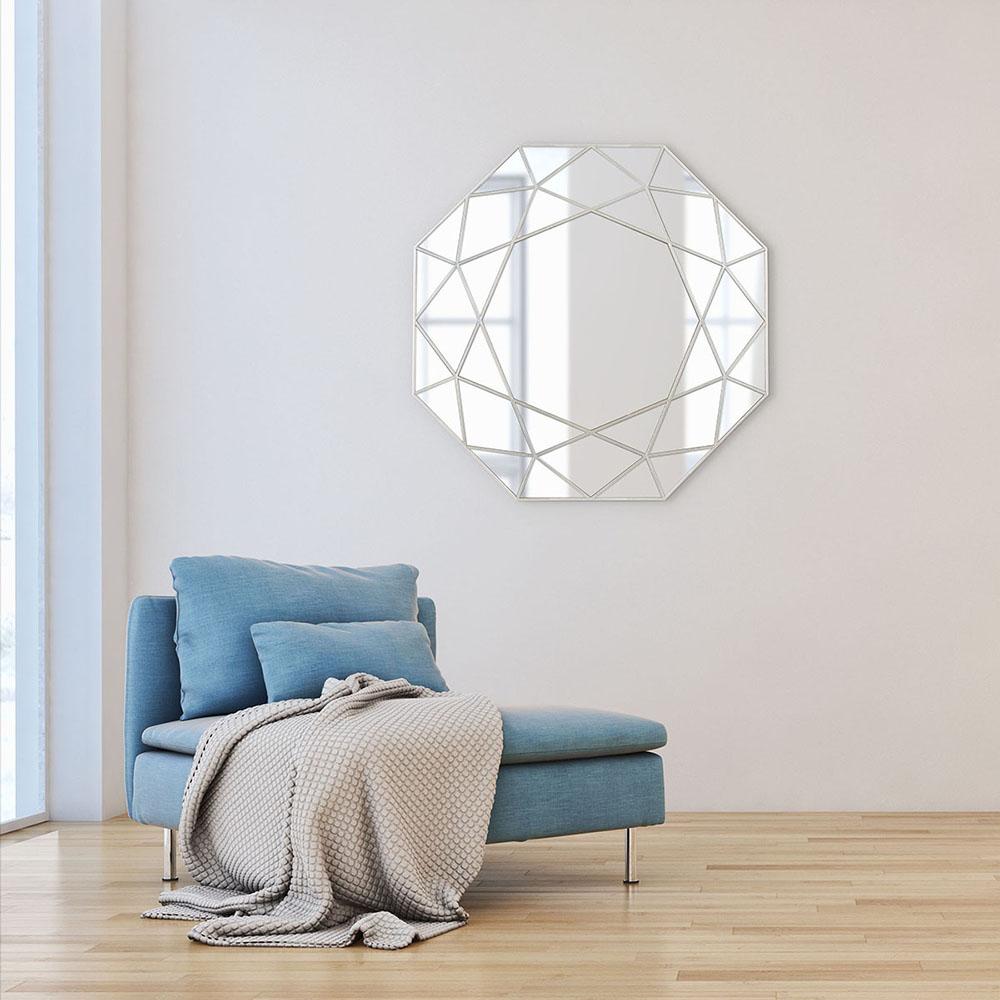 Espelho Decorativo Urban Octogonal 55x55x2,5 cm Prata