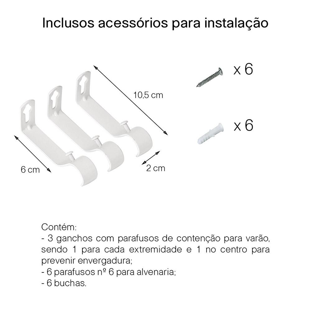 Kit Varão P/ Cortina Extensivo - 1,20 a 2,10m - Bola Branca
