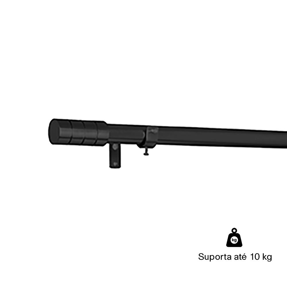 Kit Varão P Cortina Extensivo 1,20 a 2,10M Cilíndrica Preta