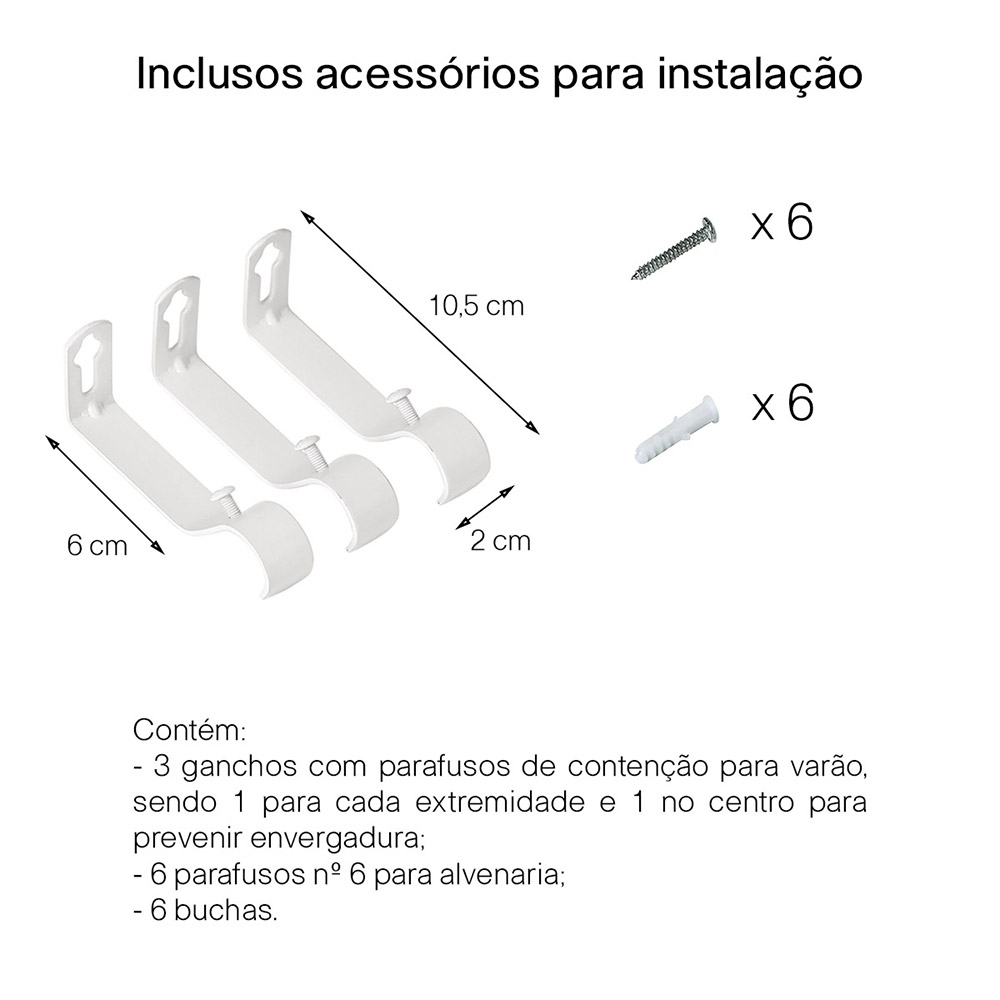 Kit Varão P/ Cortina Extensivo - 1,60 a 3,00M - Bola Branca