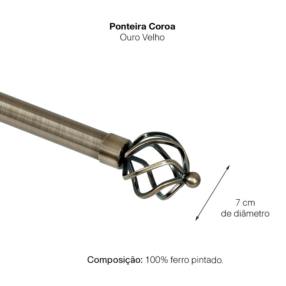 Kit Varão P Cortina Extensivo 1,60 a 3,00M Coroa Ouro Velho