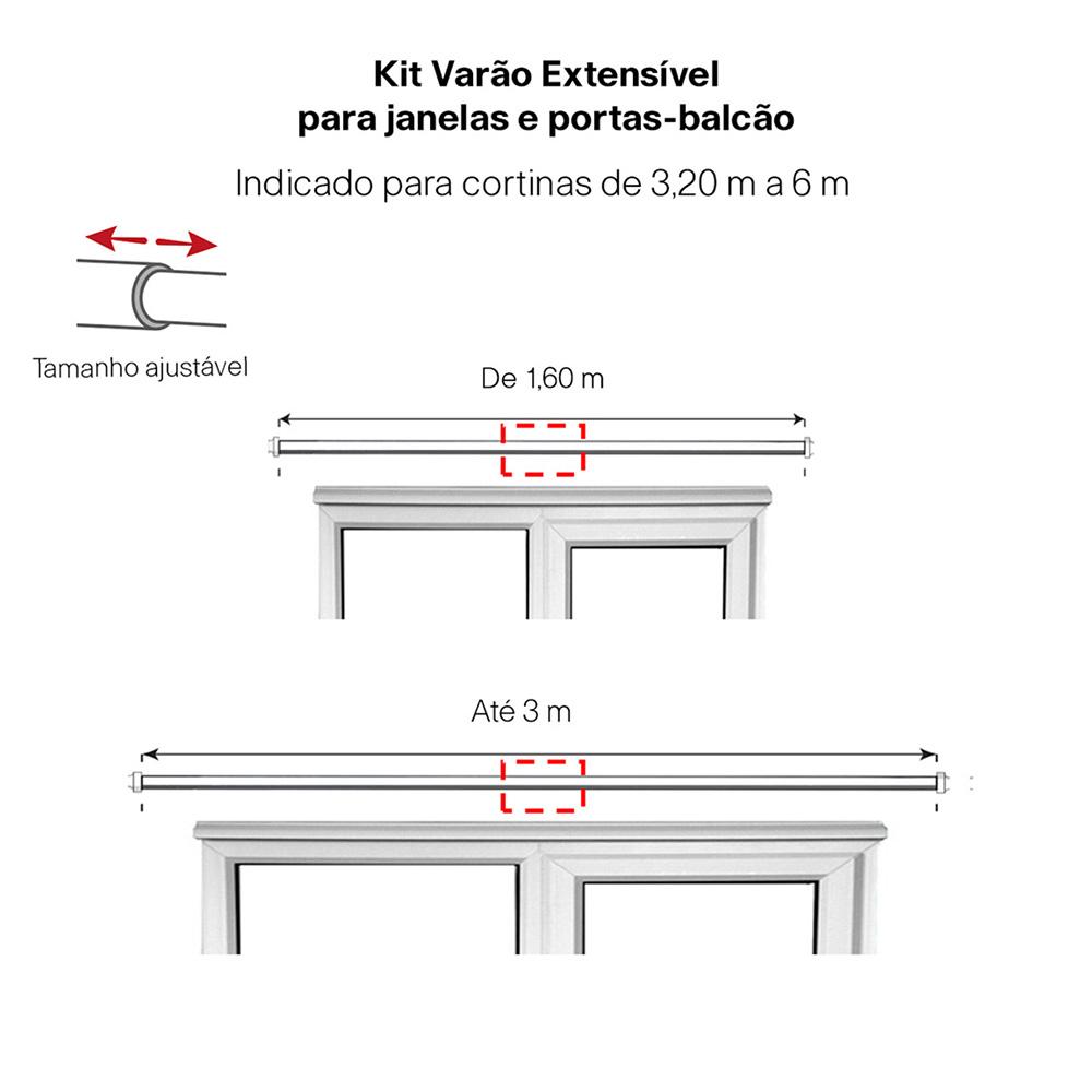 Kit Varão P/ Cortina Extensivo - 1,60 a 3,00M - Coroa Preta
