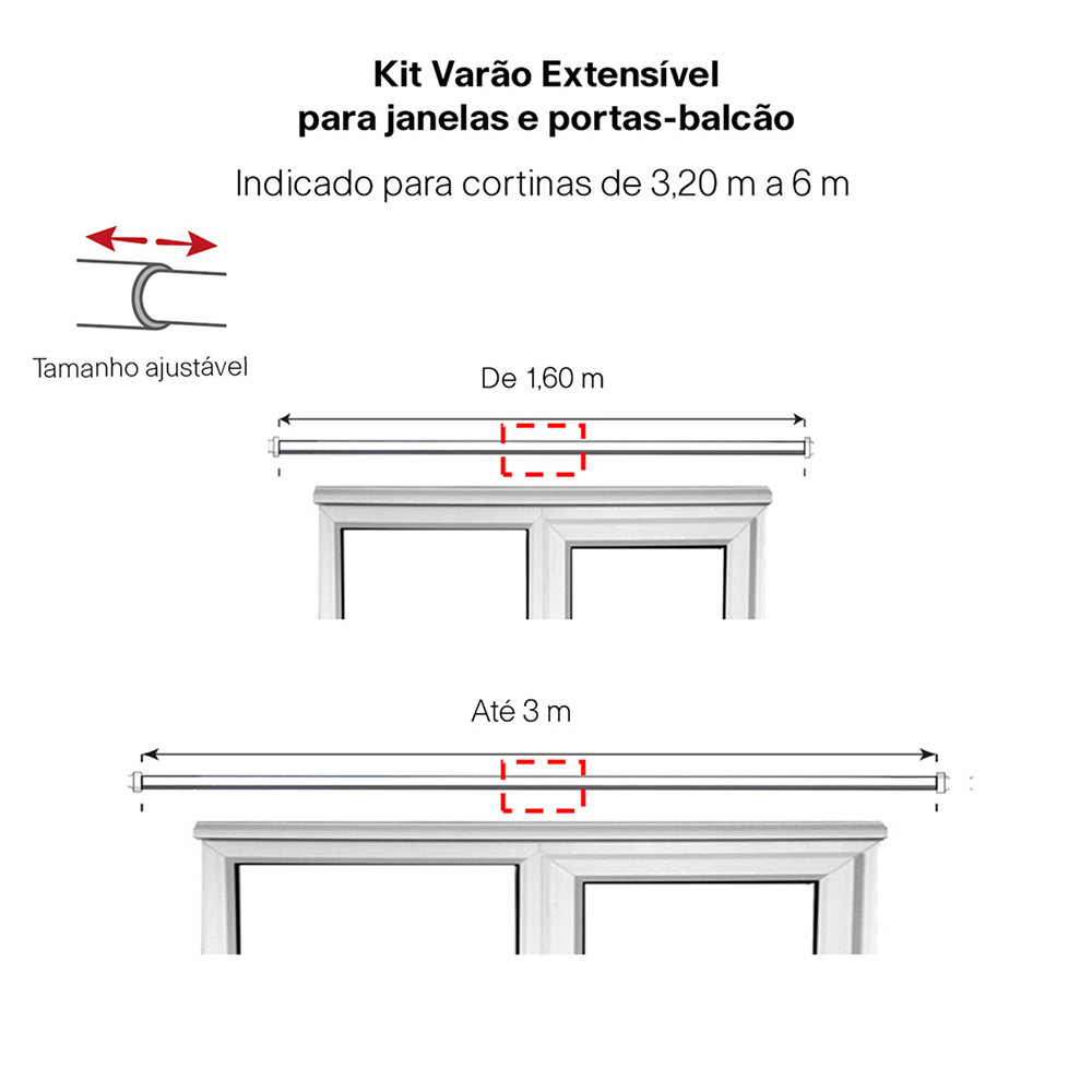 Kit Varão P Cortina Extensivo - 1,60 a 3,00m Elegance Prata