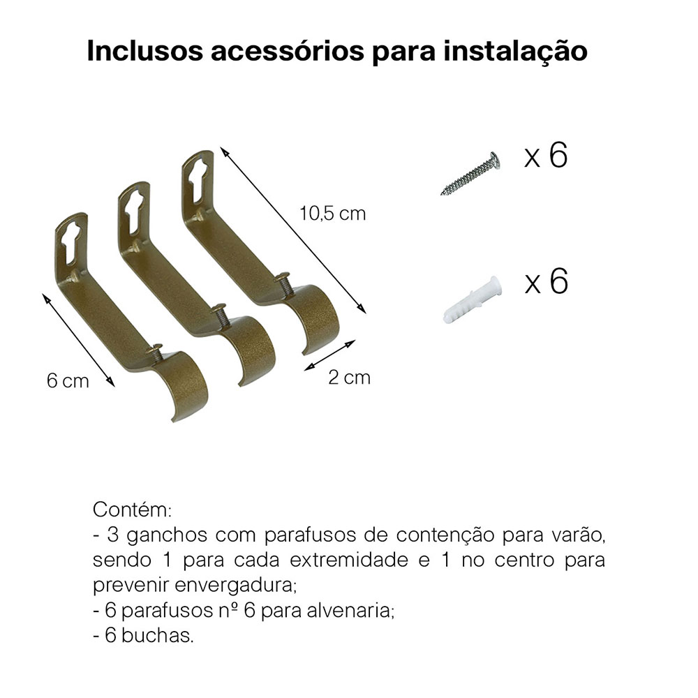 Kit Varão P Cortina Extensivo 1,60 a 3,00M Esfera Ouro Velho