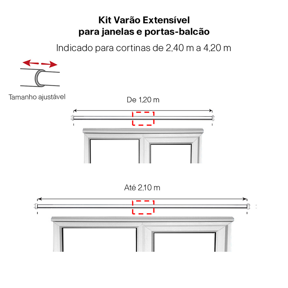 Kit Varão Para Cortina Extensivo - 1,20 a 2,10m Bola Branca