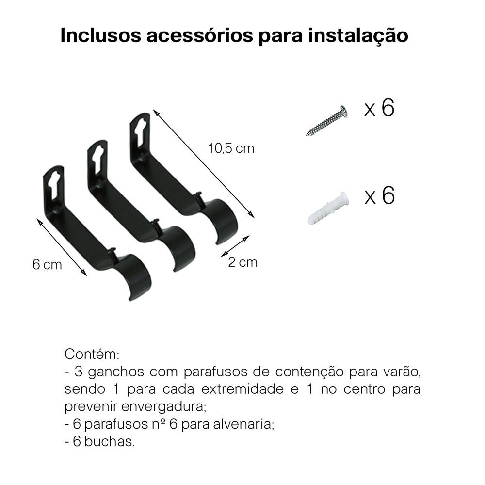 Kit Varão Para Cortina Extensivo - 1,20 a 2,10m Bola Preta