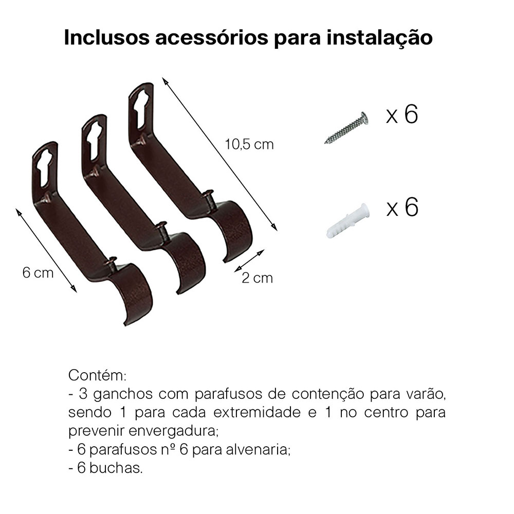 Kit Varão Para Cortina Extensivo - 1,20 a 2,10m Bola Tabaco