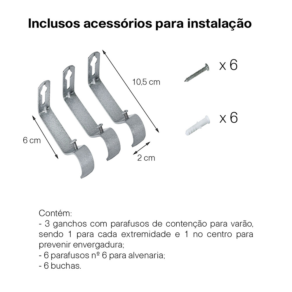 Kit Varão Para Cortina Extensivo 1,20 a 2,10M Coroa Cromada
