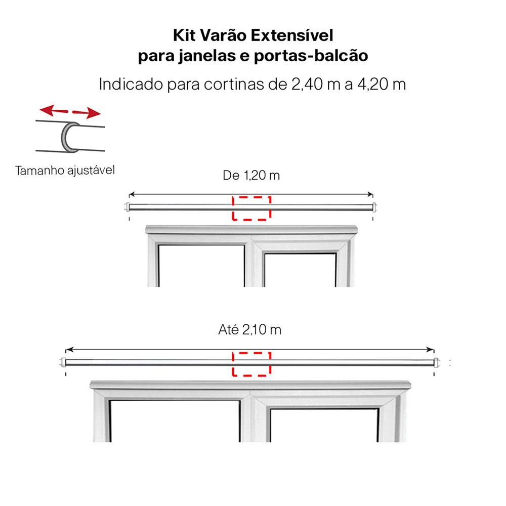 Kit Varão Para Cortina Extensivo 1,20 a 2,10M Esfera Cromada