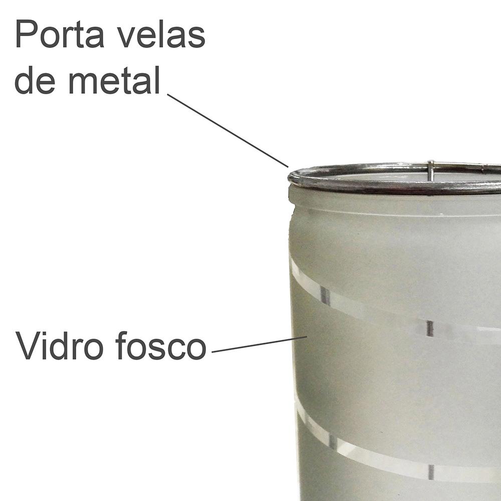 Lanterna Decorativa Vidro Navy Cinza