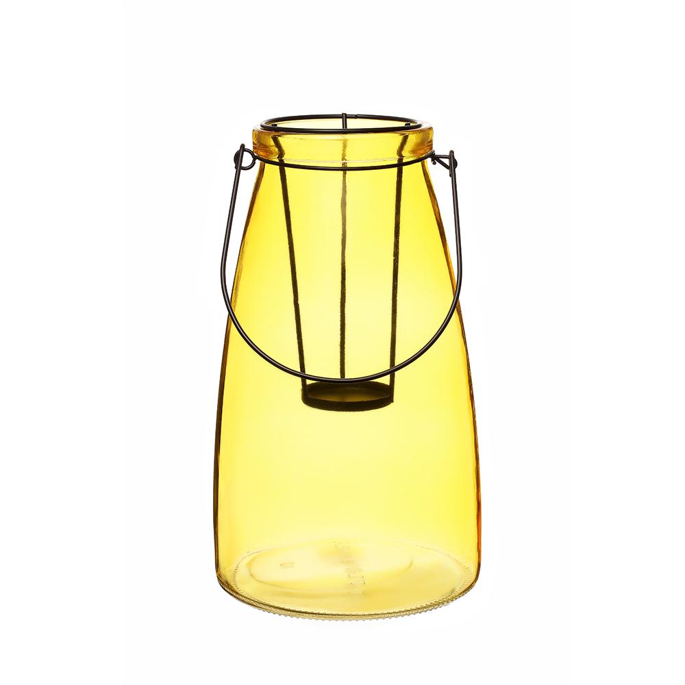 Lanterna Decorativa Vidro Vitry Amarelo