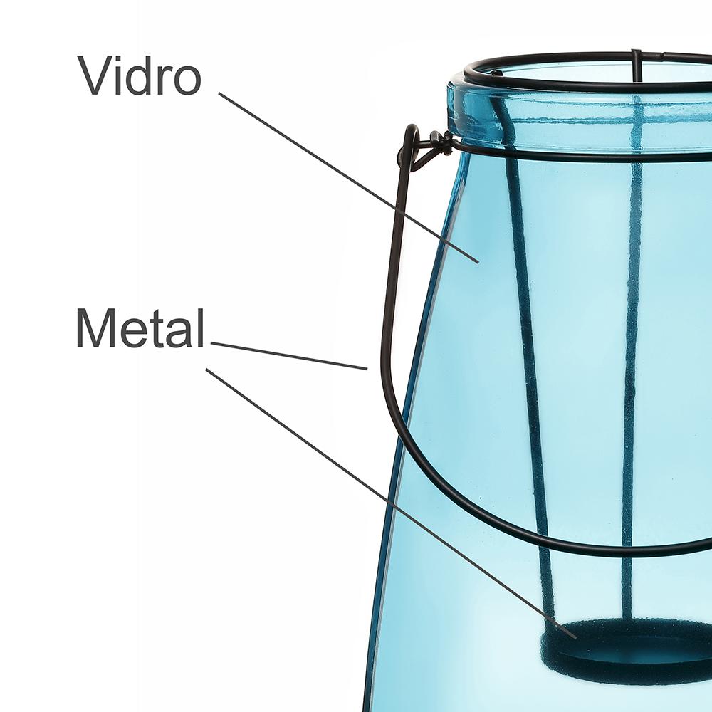 Lanterna Decorativa Vidro Vitry Azul