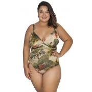Maiô Body Plus Size Estampado com Drapeado no Bojo Agridoce