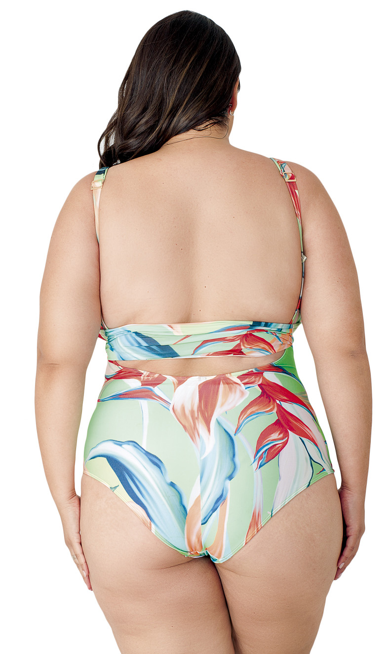 Maiô Body Plus Size com Alça Dupla Estampado Agridoce