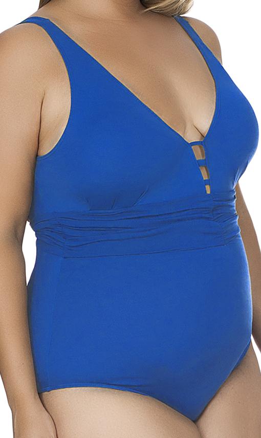 Maiô Plus Size Decote V com Faixa Drapeada Agridoce Azul Royal