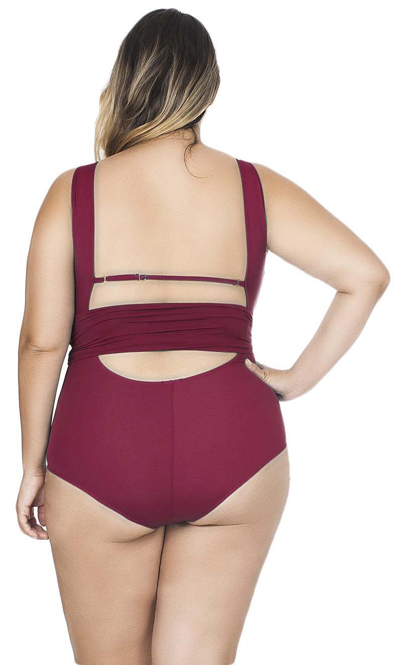 Maiô Plus Size Decote V com Faixa Drapeada Agridoce Cereja