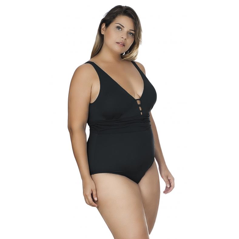 Maiô Plus Size Decote V com Faixa Drapeada Agridoce Preto