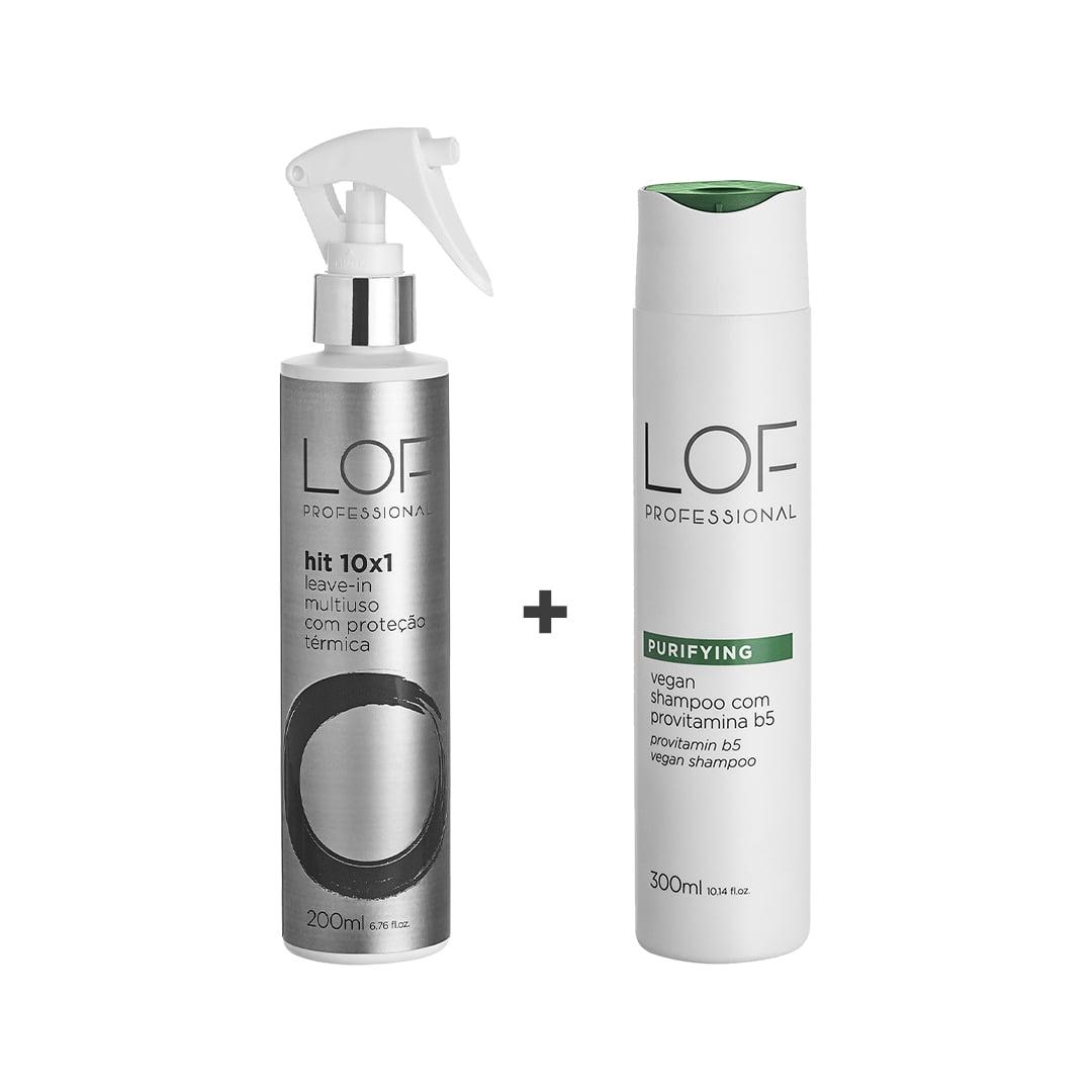 Kit  Shampoo Para Todos os Tipos de Cabelos - Vegan Purifying 300mL + Leave-in Multi Uso Proteção Térmica  Hit 10x1 200mL