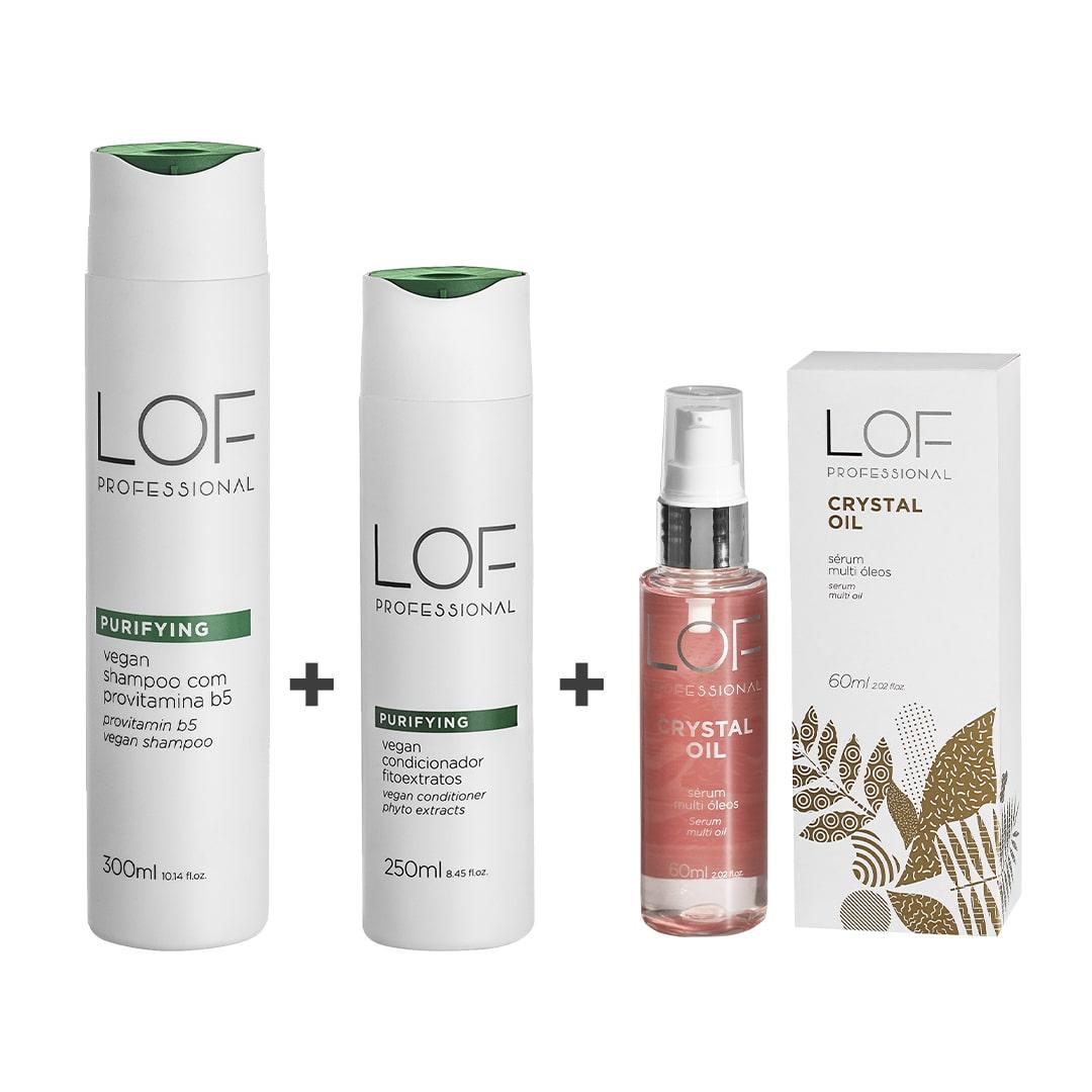 LOF Professional Kit - Shampoo Purifying 300mL + Condicionador Purifying 250mL + Crystal Oil 60mL